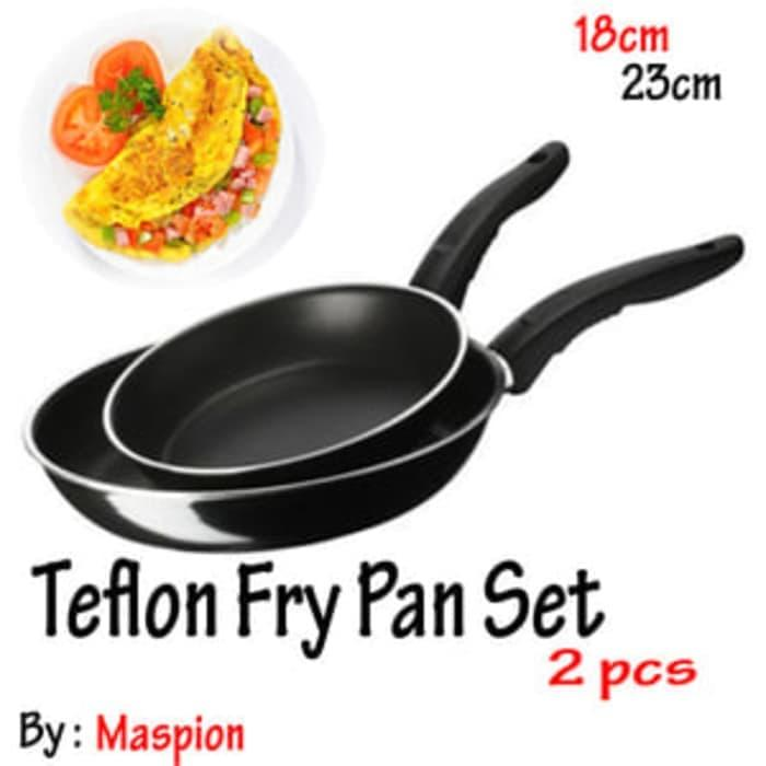 MASPION Teflon Frypan Set 2in1 : 18cm Dan 23cm - Paket Teflon Isi 2 - Teplon Fry Pan Wajan Murah