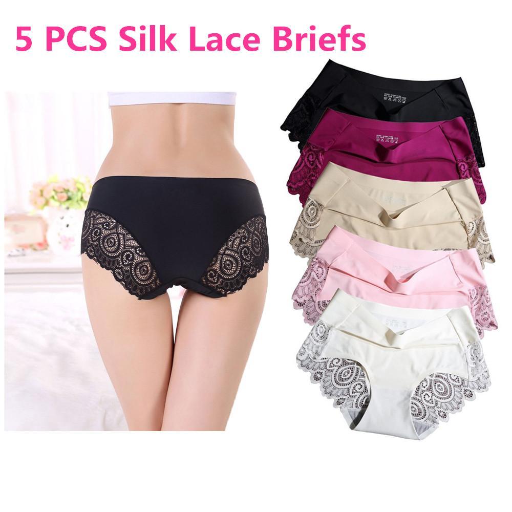 Celana Dalam Wanita Lingeri Sexsi Cd Mutiara High Quality 5pcs Ice Silk Women Briefs Seamless Underwear Girls Panties For Summer Female Lace
