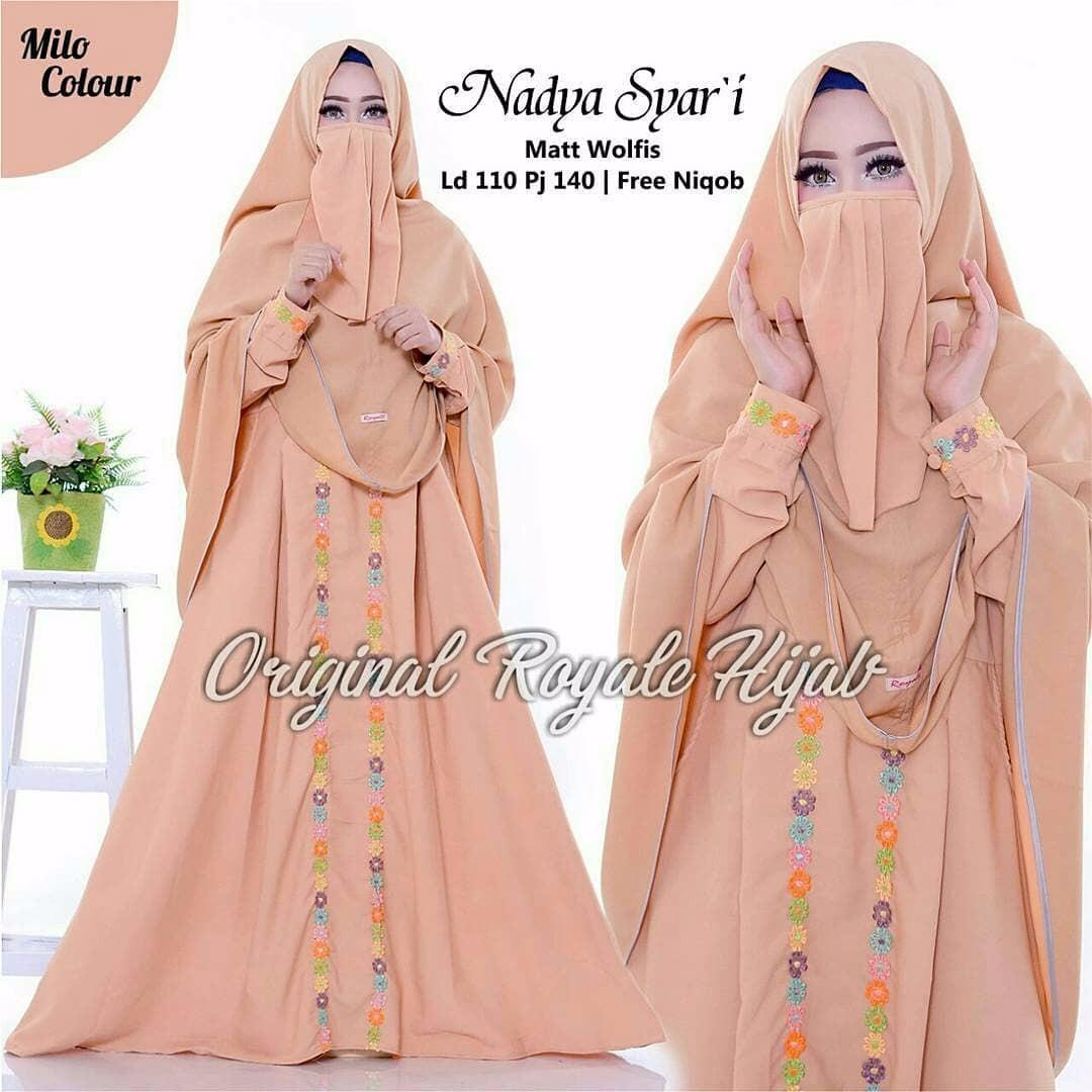 Gamis Nadya Syari Dress Wolfice Baju Wanita Panjang Muslim Casual Wanita Pakaian Hijab Modern Baju Gaun Pesta Modis Trendy Terbaru 2018