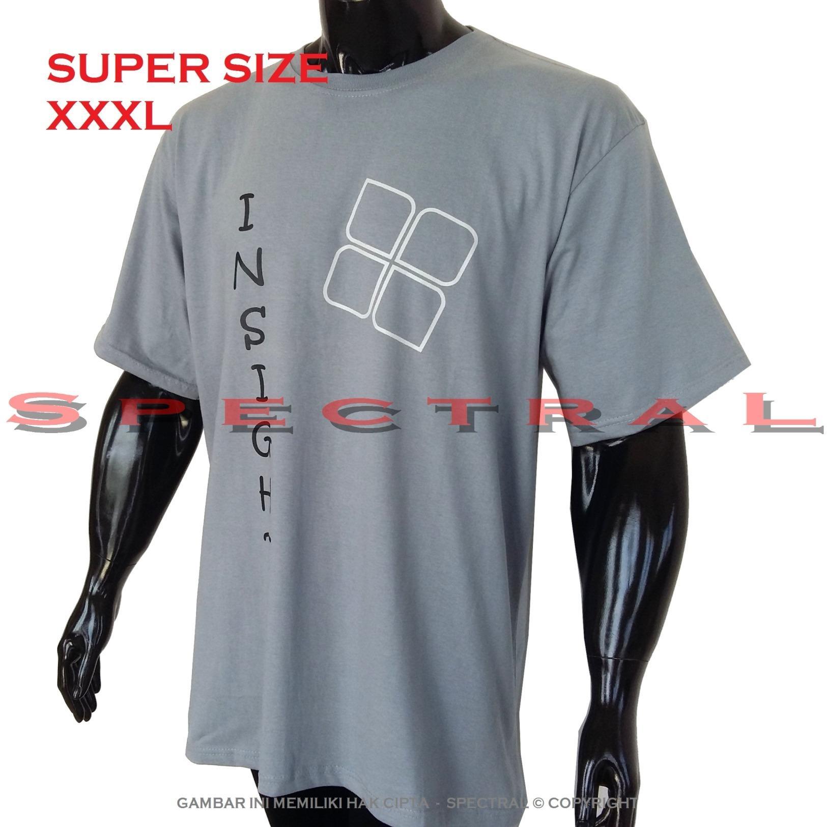 Spectral – 3XL SUPER BIG SIZE XXXL 100% Cotton Combed Kaos Distro Jumbo BIGSIZE T-Shirt Fashion Ukuran Besar Polos Celana Atasan Pria Wanita Katun Bapak Orang Tua Gemuk Gendut Simple Sport Casual Halus Baju Cowo Cewe Pakaian Super Size 3L INSIGHT 4 ABMUDA