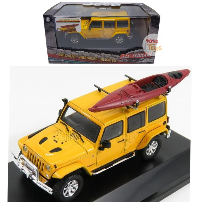 TERLARIS Greenlight 1:43 Jeep Wrangler 2016 Yellow with Kayak All Terrain