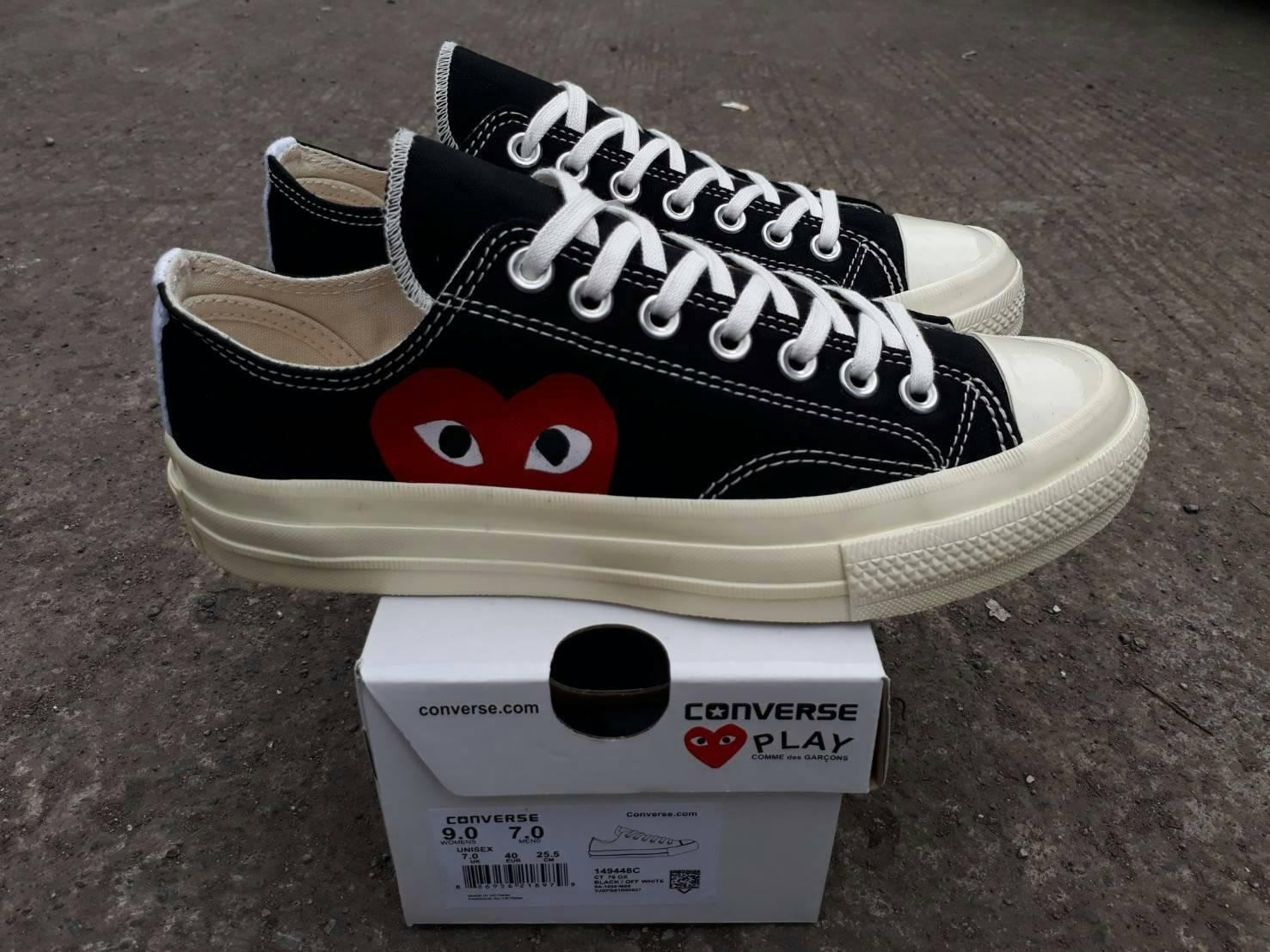 sepatu converse low CDG black white premium BNIB made in vietnam