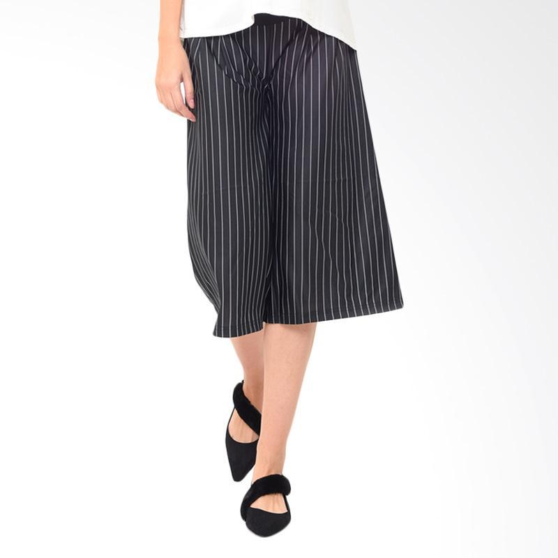 Mooimom Maternity Under The Bump Crepe Culottes in Stripe Celana Pendek Ibu Hamil - Black
