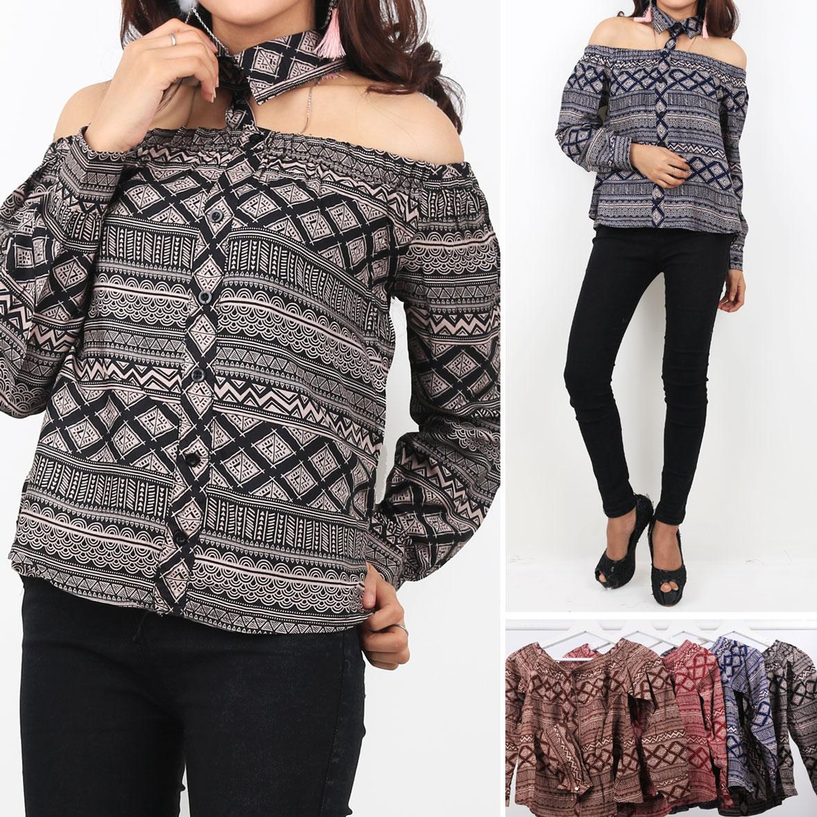 Oma Fashion Modern Batik Casual Sabrina Long Sleeve - 4 Warna - Size M
