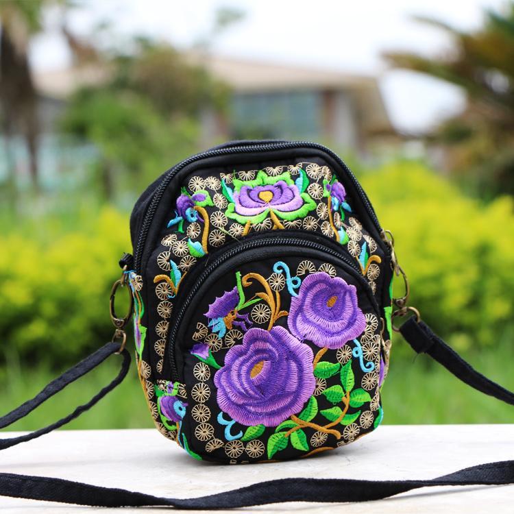Kacamata baca bordir angin nasional bordir tas bahu paket diagonal tas wanita (Ungu Rose bunga
