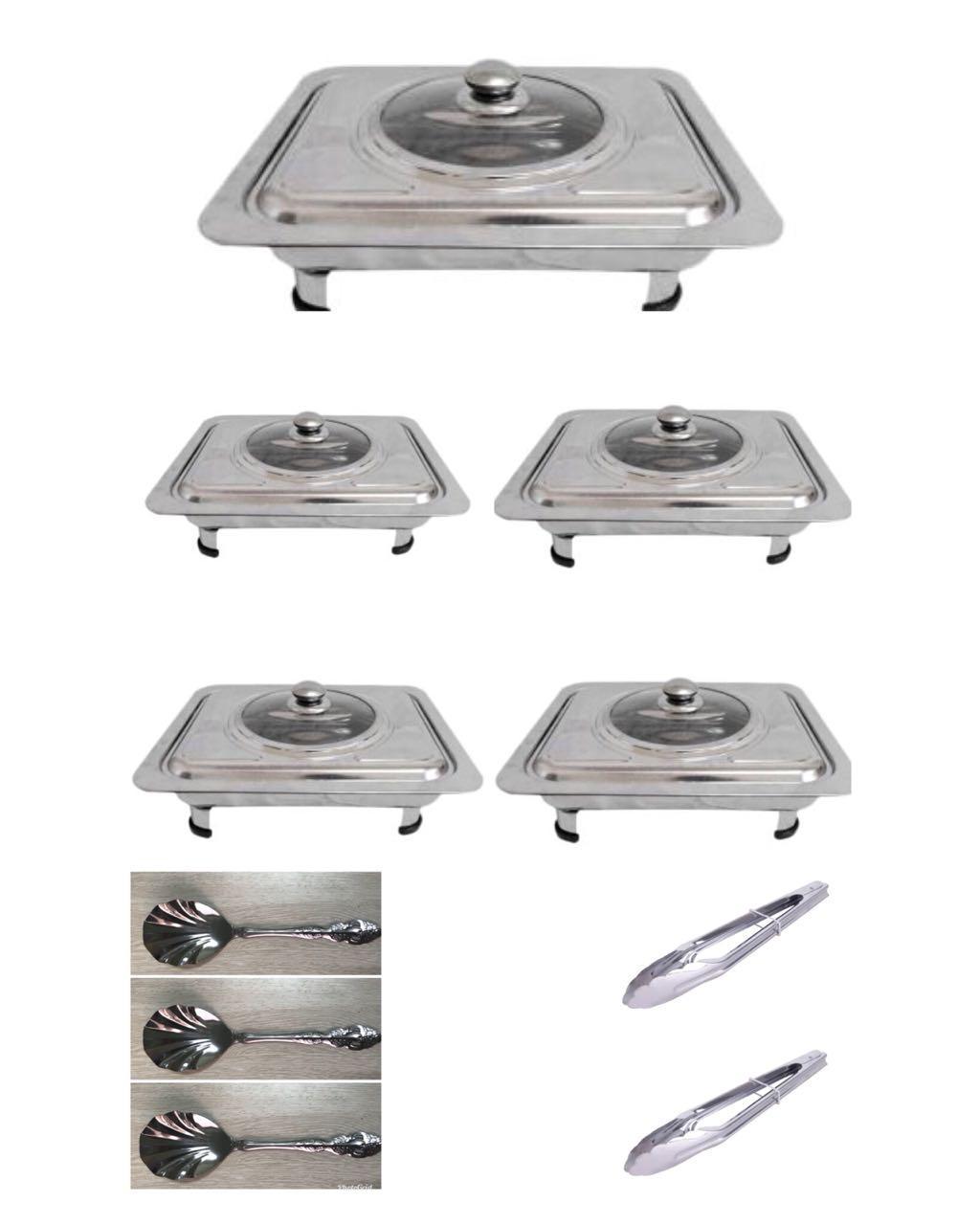 555 Wadah Saji Masakan  - Prasmanan Set isi 5, 3 Sendok Sayur, 2 Jepitan Makanan Stainless Steel ( 10 in 1 )