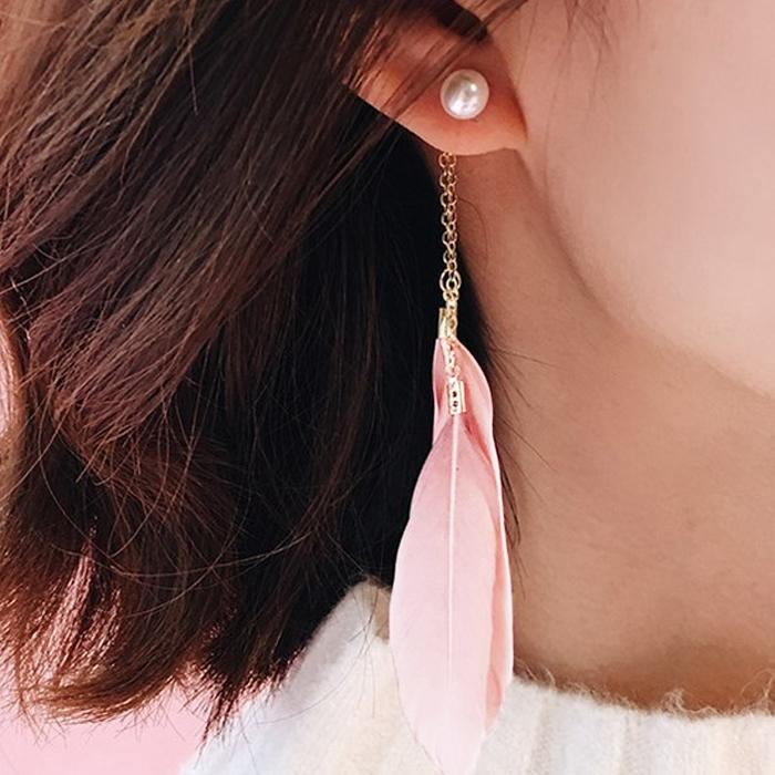 Anting  Feather Pearl Long Chain Earringss JN1132
