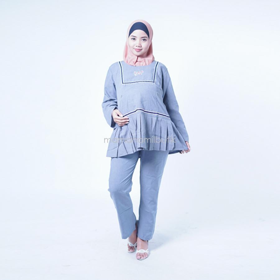 Mama Hamil Baju Ibu Hamil Muslim Setelan Lengan Panjang Mentari Cloth - Baju Ibu Hamil - Baju Hamil Menyusui - Baju Hamil Kerja - Baju Hamil Murah - Baju Hamil Surabaya - Blouse Kerja - Setelan Baju Kerja Hamil - Celana Kerja hamil - STJ 88