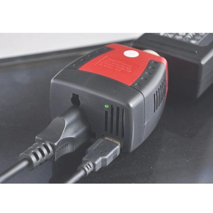 Charger Laptop Smartphone Mobil Power Car Inverter 150W 220V AC 5V Promo Bulan Ini