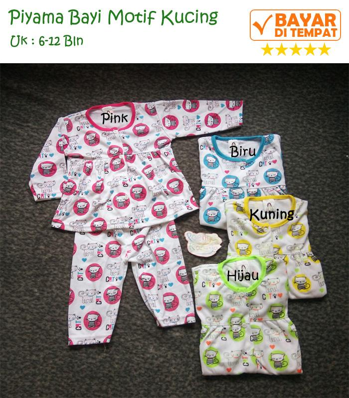 Baju Tidur Anak Bayi Perempuan | Setelan Bayi Cewe | Piyama Bayi Cewek Motif Kucing