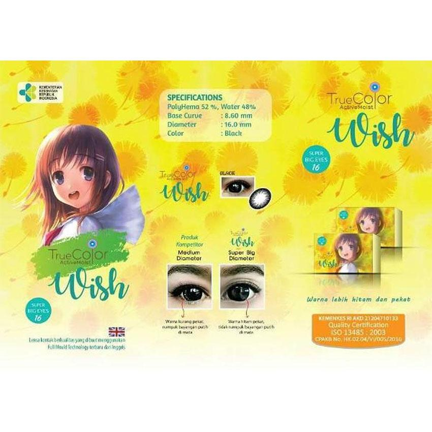 True Color Wish Softlens -Warna Black (Hitam) + FREE Lenscase