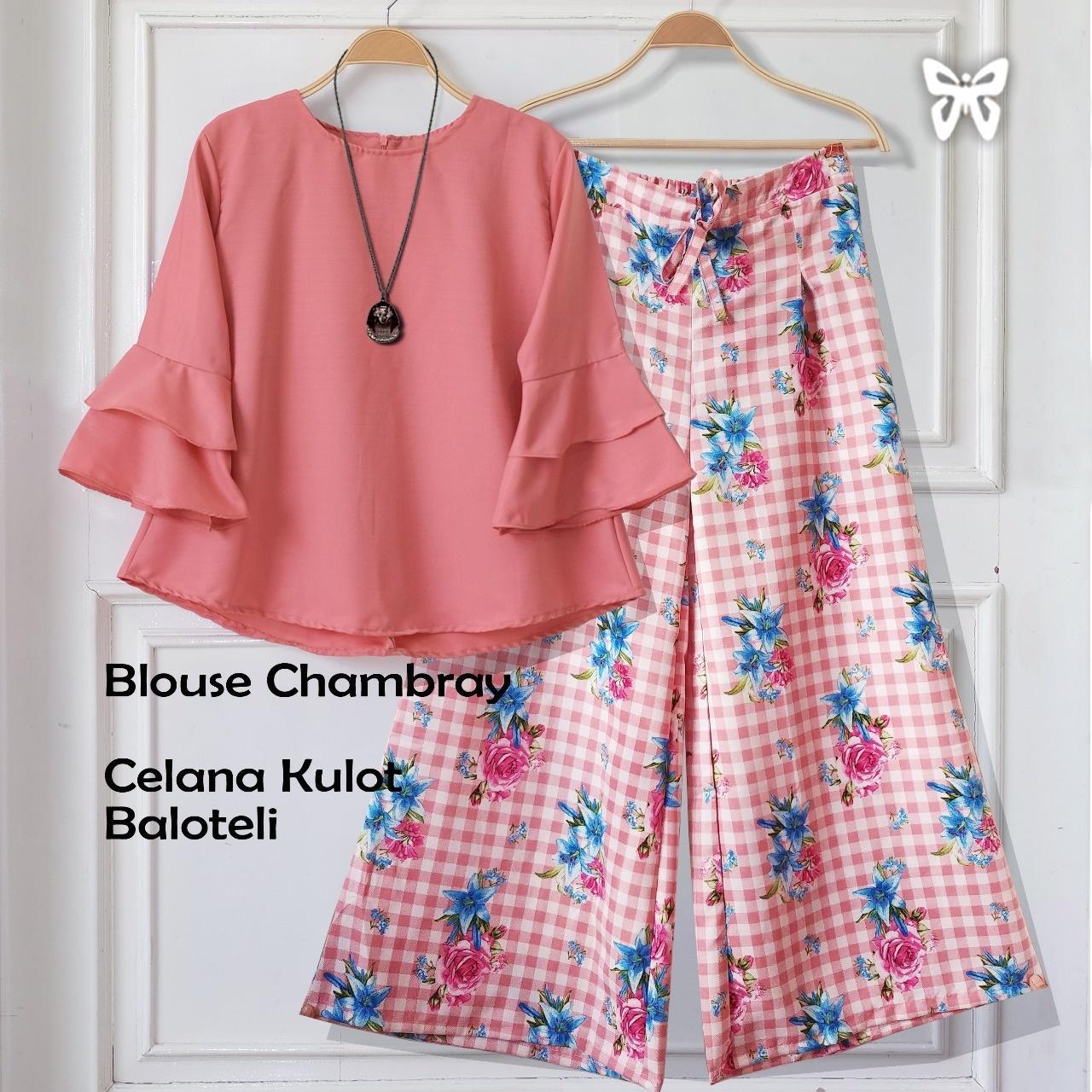 Flavia Store Setelan Wanita Motif Bunga FS0733 - PEACH / Stelan Muslimah / Atasan Baju Blouse Kemeja Lengan Panjang Terompet Bawahan Celana Kulot Muslim / Srchantika