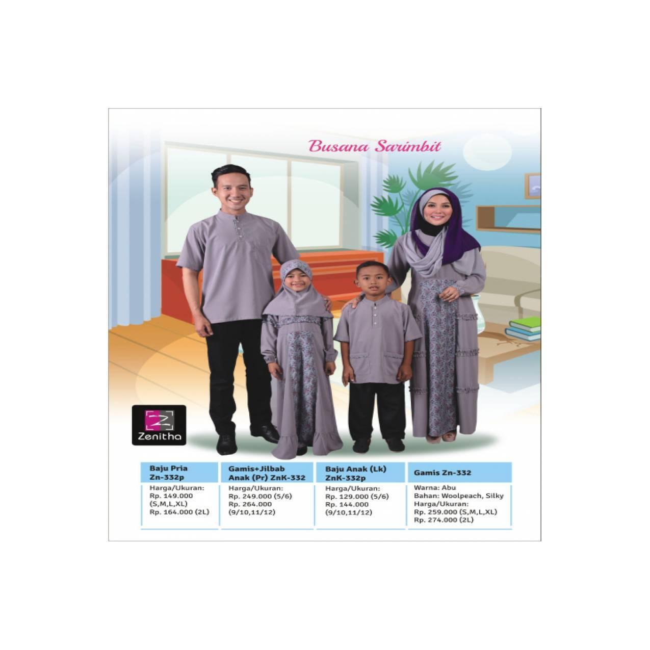 Sarimbit Keluarga Terbaru - Zenitha - ZN 332 Abu - Sarimbit Muslim