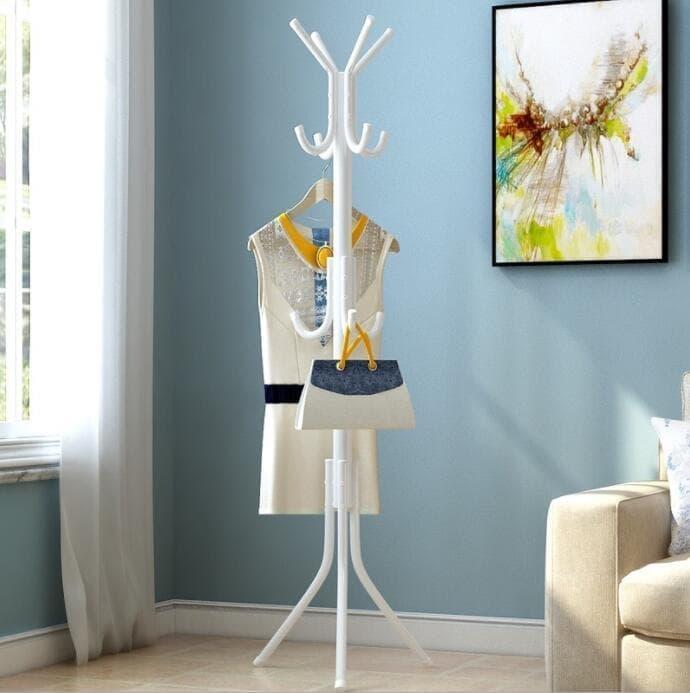 Multifunction Stand Hanger/Gantungan Berdiri/Hanger Gantungan Baju Tas - Putih Sedia juga rak piring/rak buku/rak dinding/raket badminton/rak tv/rak piring stainless