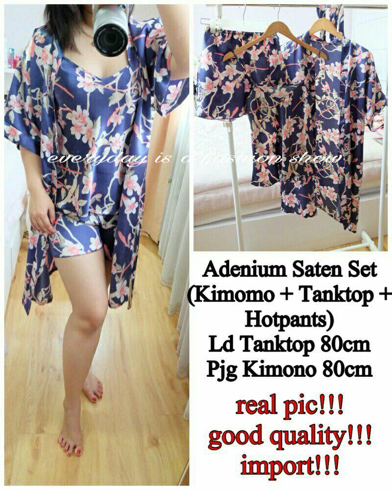 Hasanah Set Kimono Luxury - Stelan Celana Kimono - Baju Tidur