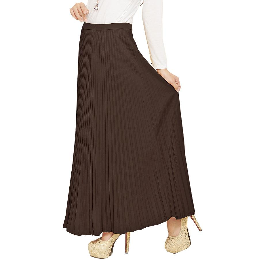 Jo & Nic Rok Lipit Panjang - Maxi Skirt Wanita Fit Up To Big Size By Skyrosenet.