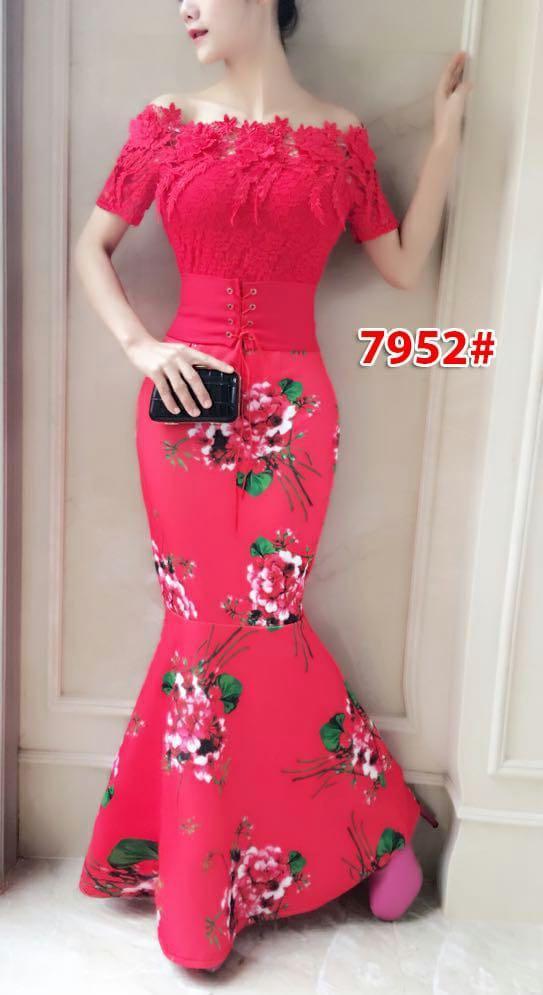 7952# Longdress scuba / longdress brokat / longdress fashion import / baju pesta import / gaunpanjang
