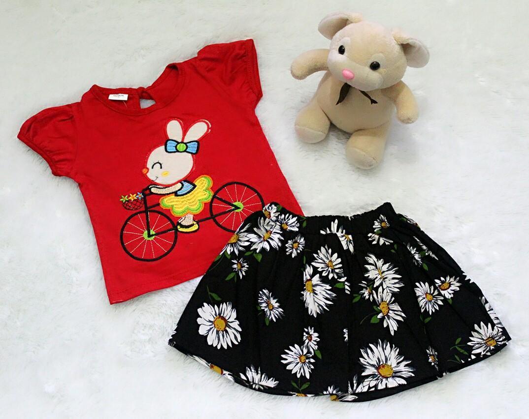 PROMO SUPER MURAH / All Size 3-12 Bulan / Setelan Baju Rok Bayi Anak