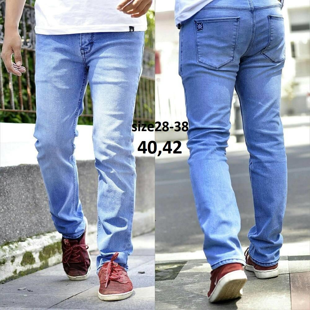 R.S.T.R. celana jeans skiny pria - celana jeans pensil - Celana jeans jumbo XXL XXXL - black scrup - Hitam - Biru dongker - Biru muda - Biru tua