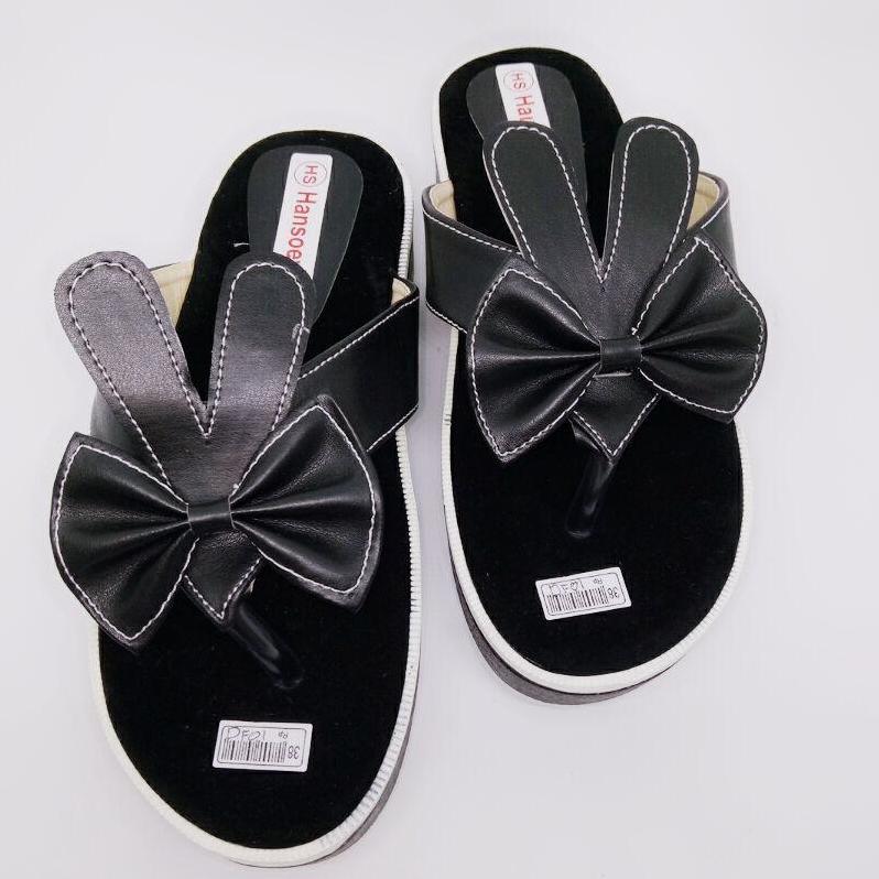 mz sandal wanita wedges jepit variasi pita kelinci