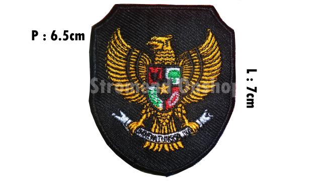 Best Seller!! Emblem Bordir Garuda Bhinneka Tunggal Ika Hitam Kecil - ready stock