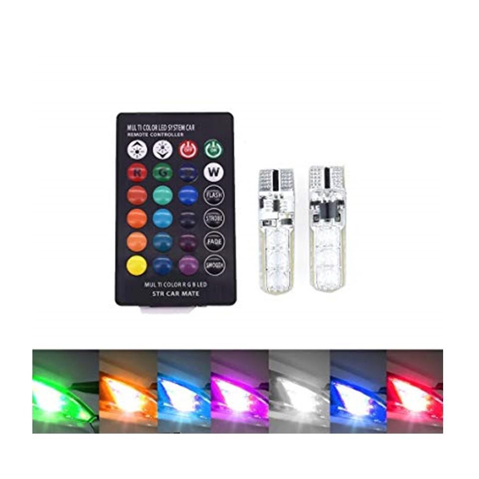 LED Lampu Senja 12V T10 16 Warna + Remote Motor dan Mobil / LED Lamp W5W 5050 SMD RGB Car & Motorcycle - 2 Pcs