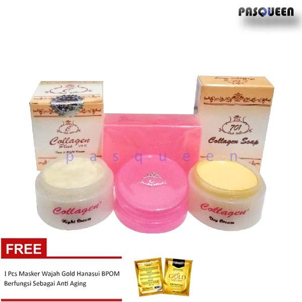 Paket Cream Collagen Plus Vit E Original - Krim Siang dan Krim Malam + Sabun Collagen FREE MASK GOL
