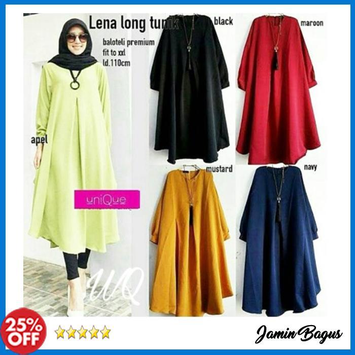 Best Seller Baju Atasan Wanita Muslim Lena long tunik Termurah Bahan Berkualitas Model Kekinian