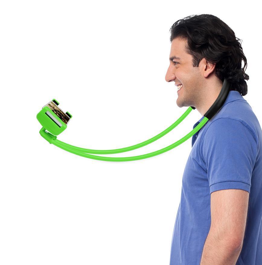 Tongsis/Lazypod/Monopod Leher Kekinian Universal Flexible Lazy Hanging on Neck Phone Holder 360° Rotating Bracket for iPhone Samsung up to 10inch