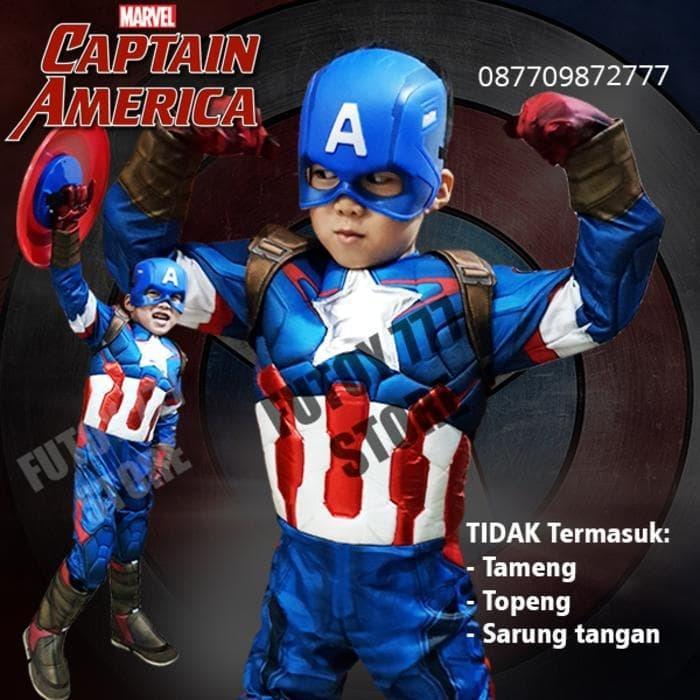 WE23/Kostum CAPTAIN AMERICA baju anak laki lelaki avengers cosplay