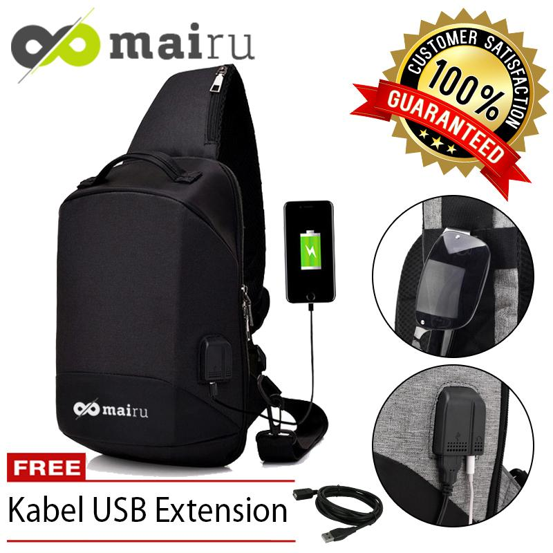 Mairu XD-V2 Tas Selempang Pria Anti Maling Messenger Crossbody Sling Bag Import With USB Charger Port Support For Iphone Ipad Mini Xiaomi Samsung Tab Anti Theft
