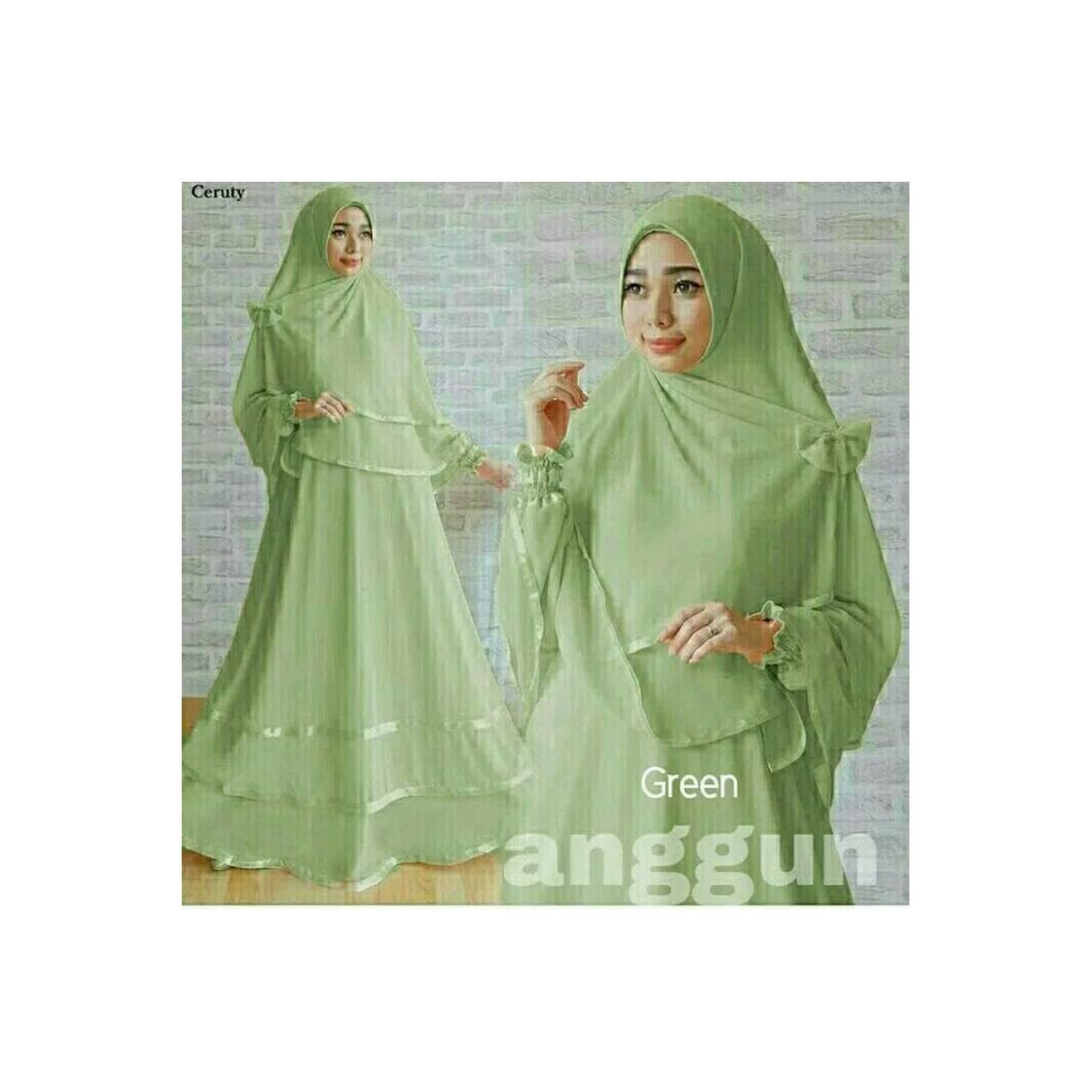 Baju Lebaran Gamis Anggun Syari Murah Dress Wanita Muslim Hijau Muda