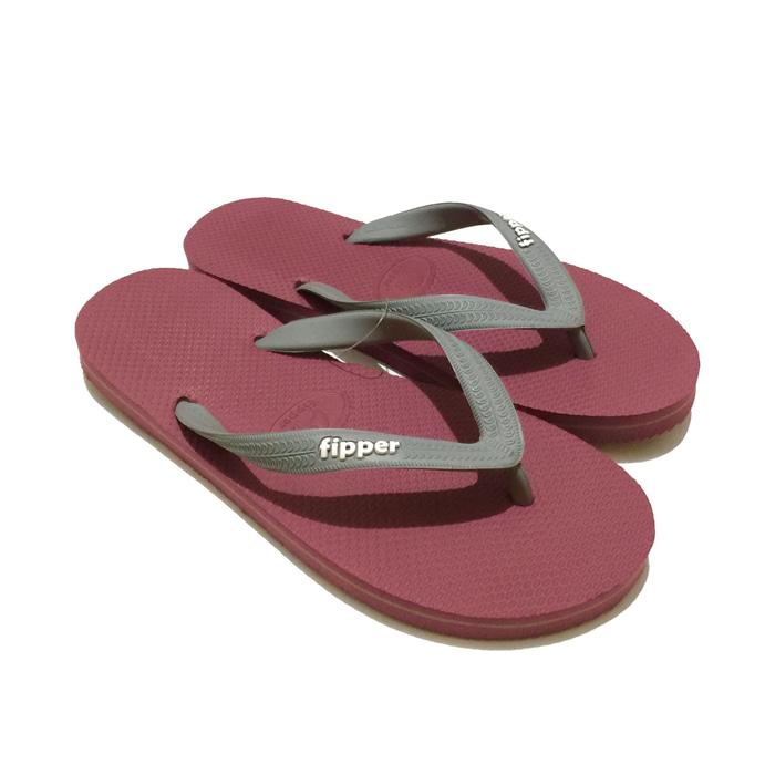Best Seller!! Sandal Fipper Slick Maroon Grey - ready stock