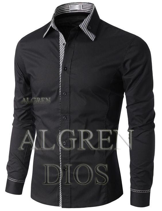 Algren Baju Hem Kemeja Pria Dios lengan panjang - Hitam / Slim fit / Casual / Polos / Kerja / Kantor / Katun / Kem / Atasan / Pakaian