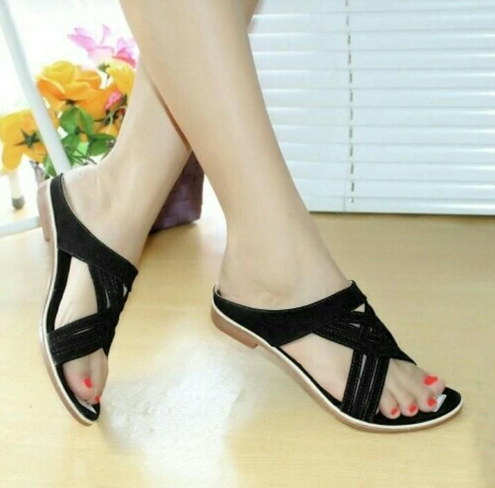 Mz sandal wanita flat selop tali hitam