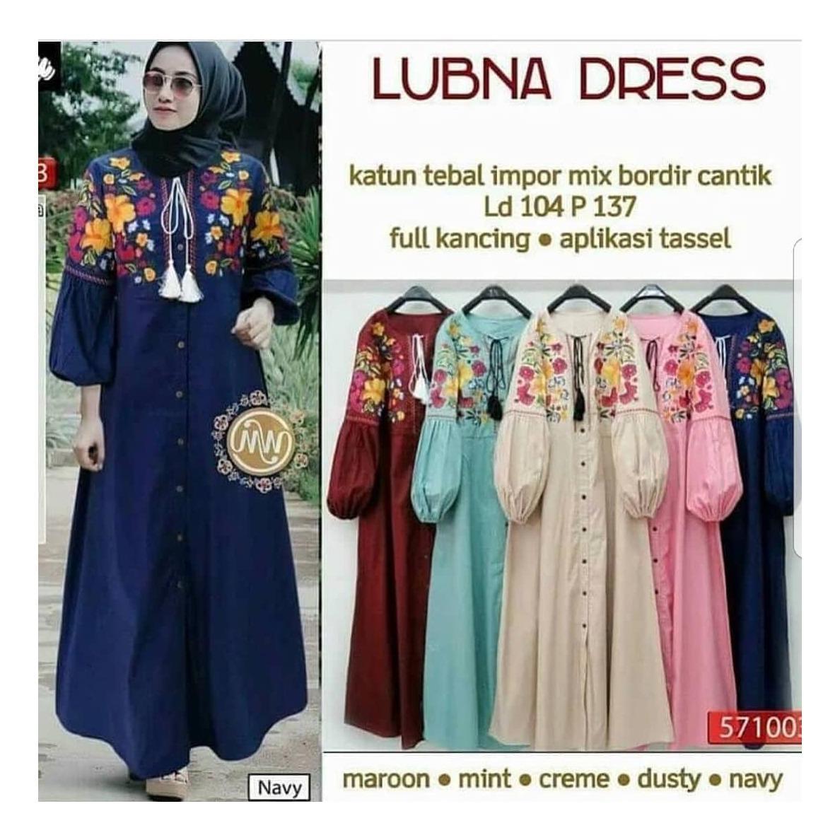 OEM Baju Original Lubna Dress Katun Gamis Panjang Wanita Muslim Pakaian Cewek Gaun Muslimah Hijab Casual Simple