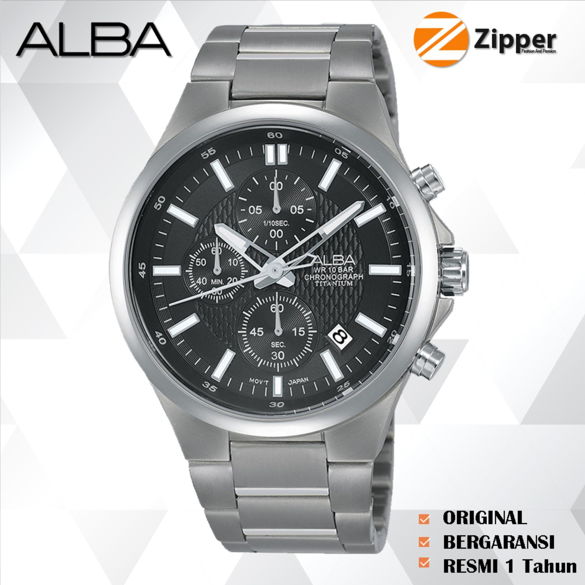 Alba Chronograph Jam Tangan Pria Tali Titanium Quartz Movement - Jam Tangan Original Alba AM35 Series