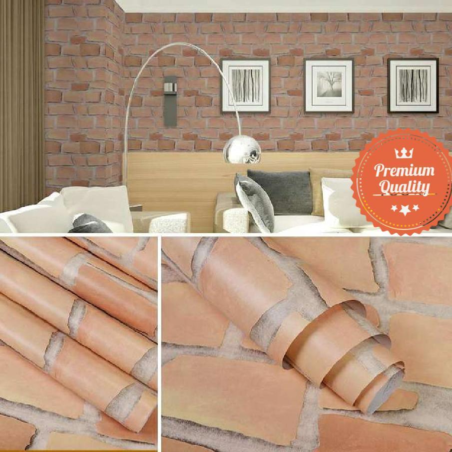 Wallpaper sticker dinding ruangan indah bagus cantik elegan batu bata orange muda garis abu abu