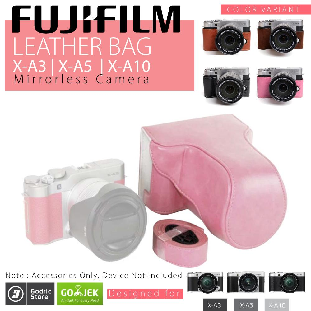 Fujifilm X-A3 / X-A10 / X-A5 / XA3 / XA10 / XA5 Leather Bag / Case / Tas Kulit Kamera Mirrorless - Pink Muda