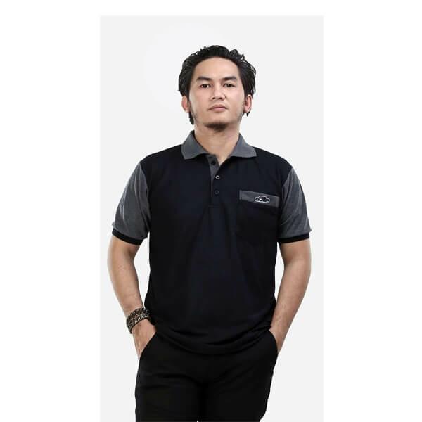 G-shop Kaos Distro Berkerah Pria Hitam Komb - ADG 0389