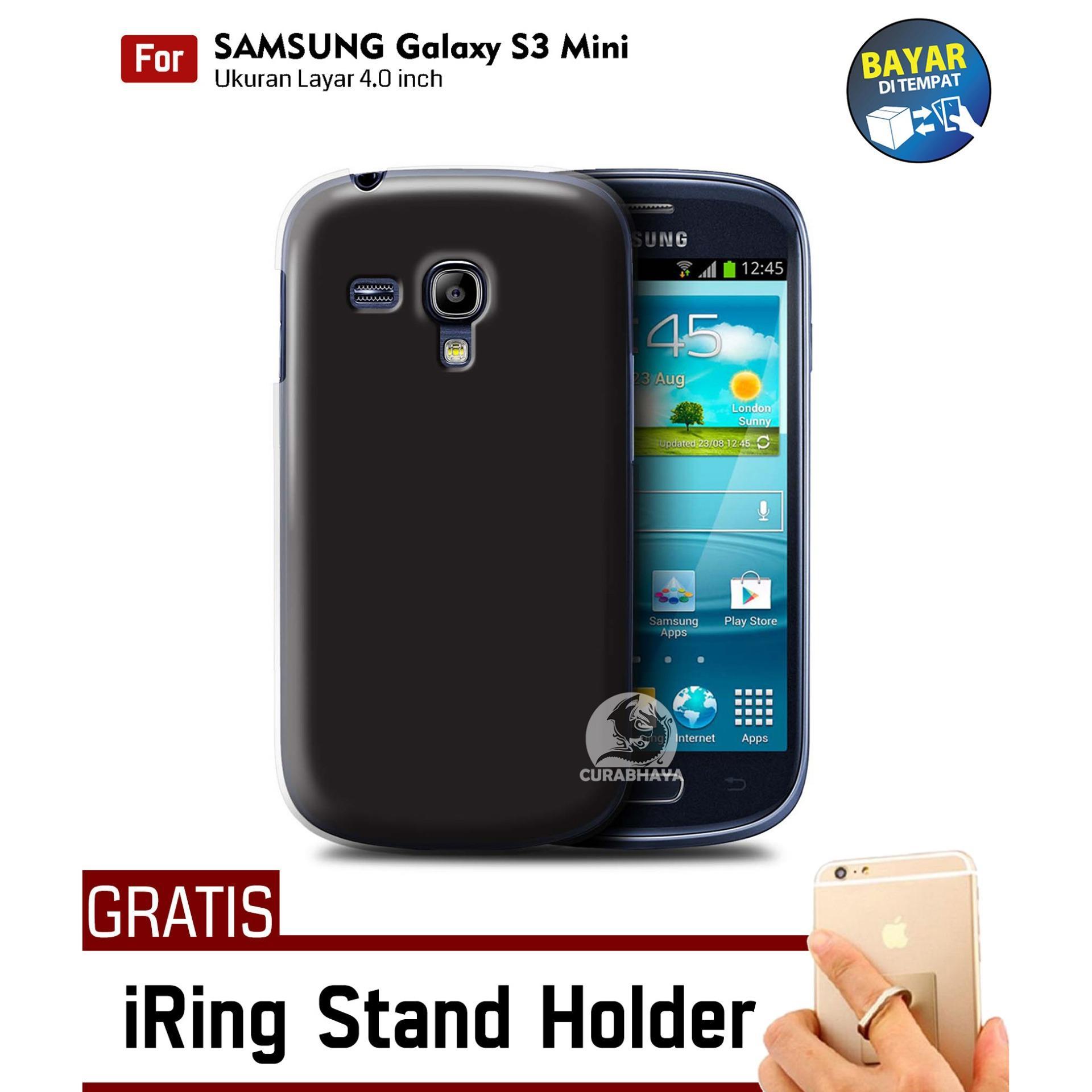 MidNight Samsung Galaxy S3 Mini / I8190 / I8200 / Duos   Slim Case Black Matte Softcase Premium Baby Skin + Gratis Free iRing Stand
