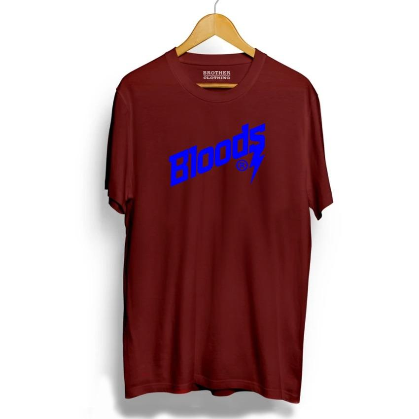Brother Store Kaos Distro  Bloods Text Blue - MAroon Premium