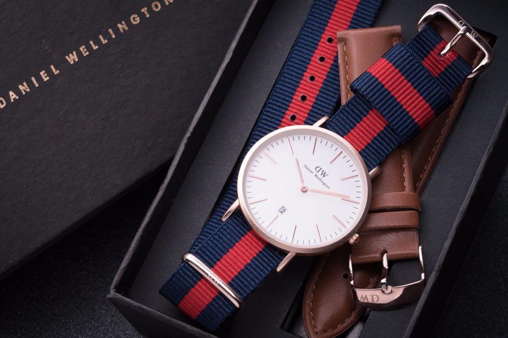 Jam Tangan Nilon Tali Gelang untuk Daniel Wellington CLASSIC/Klasik Hitam 36 Mm