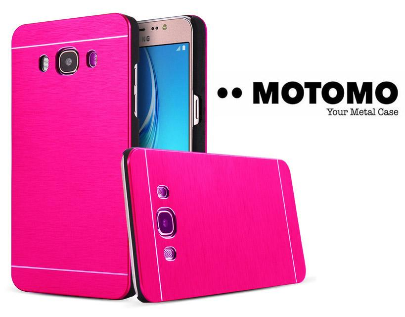 Motomo Rubber polycarbonat + Metal Hardcase Samsung Galaxy J1 Ace J110 Hard Back Case / Hard Back Cover / Case Samsung Galaxy J1 Ace J110 / Metal Motomo Samsung J1 Ace J110 / Casing Hp / Pelindung HP - Pink