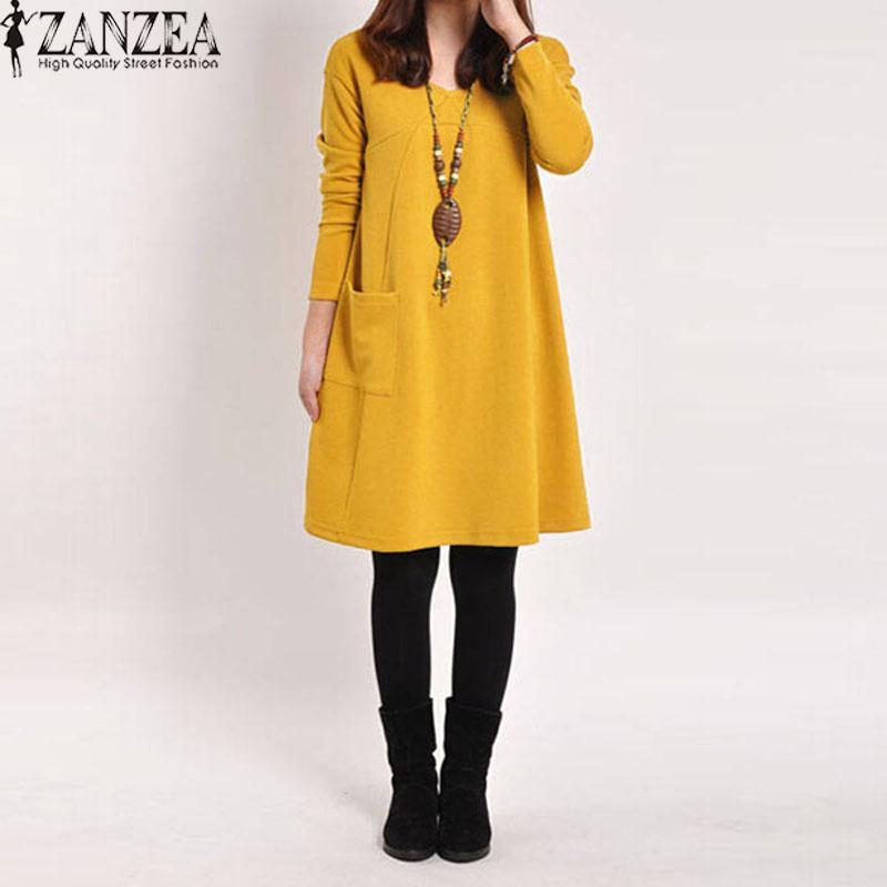 ZANZEA Wanita Lengan Baju Panjang Saku V-leher Puncak Santai Mini Hamil Gaun Katun Longgar Kuning-Internasional