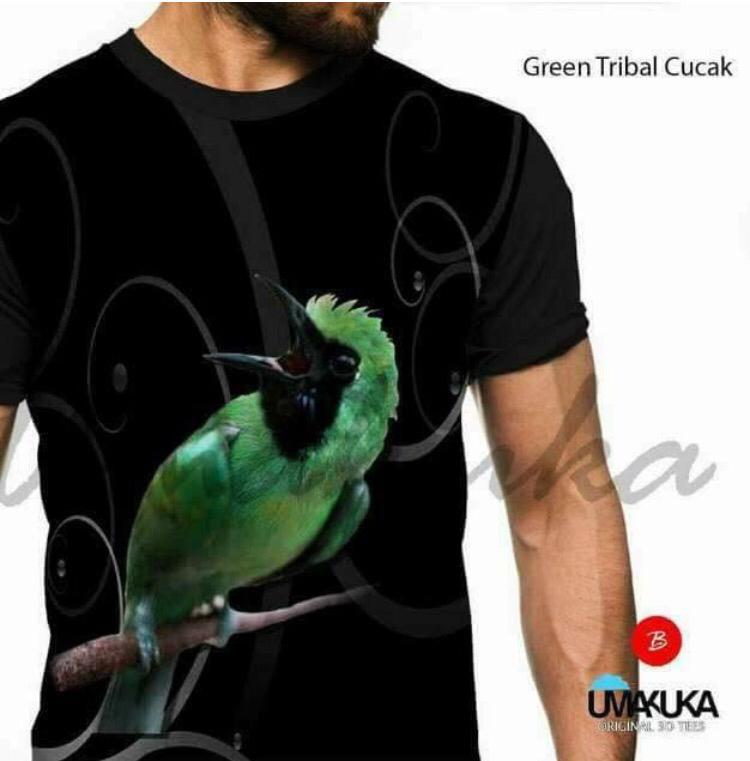Green tribal cucak kaos burung kicau mania 3d fullprint