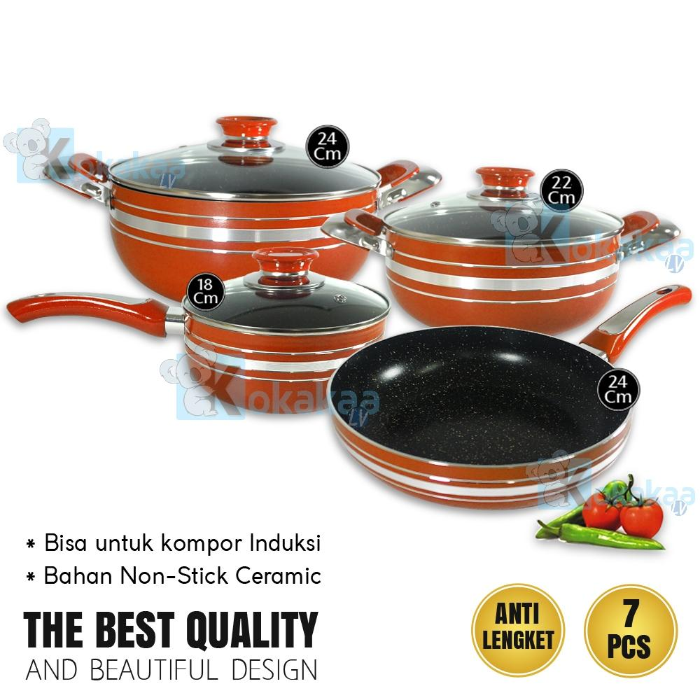 Bettio Panci Set Marble Coated induksi induction Support Cookware 7 in1 Set Lengkap Design Italy