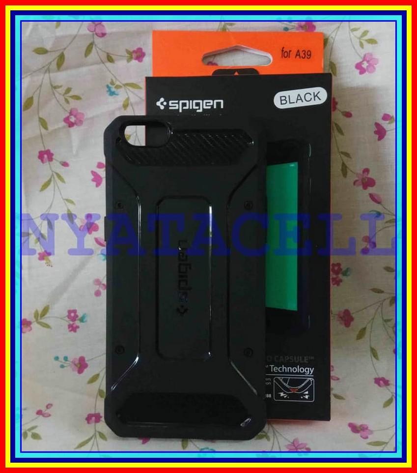 Spigen Capsule Oppo A39 A57 Soft Case Rugged Armor Carbon Pro - Hitam