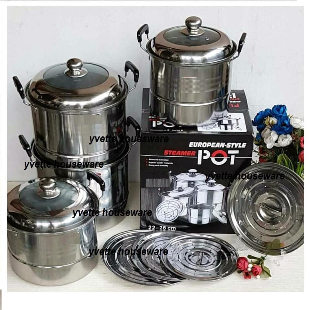 Panci Eropa Pot Tutup Kombinas Dengan Steamer- 1 Set 4 Panci