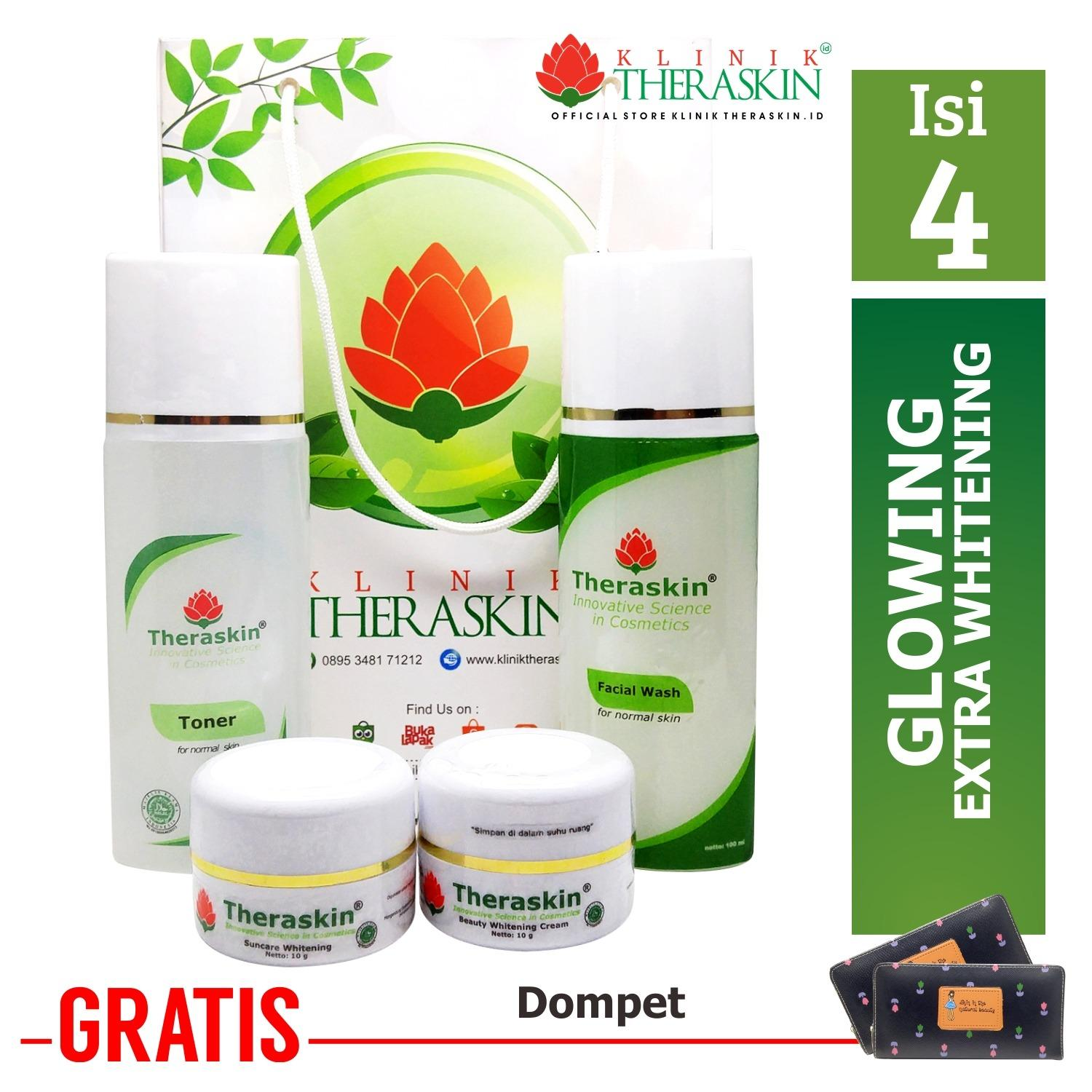 Cream Theraskin Glowing with Extra Whitening Isi 4 100% Theraskin (Theraskin Glowing Step 3) + Gratis Dompet